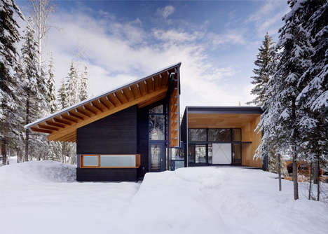 Angular Wooden Family Retreats - This Mountain Lodge Cabin is Abstractly Unique and Comfortably Warm