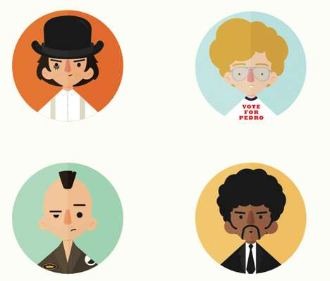 Spherical Movie Icon Posters - Rafael Lima Illustrated Famous Movie Characters into a Poster