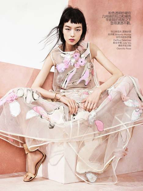 Blushed Feminine Floral Photoshoots - Fei Fei Sun Poses in Feminine Florals for Vogue China May 2014