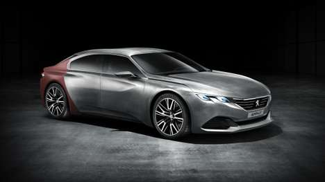 Shark Skin Sedan Concepts - The Peugeot EXALT Uses a Mysterious Red Material Dubbed
