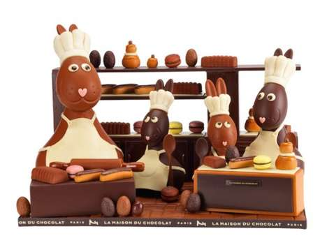 Decadent Chocolate Centerpieces - La Maison Du Chocolat Released Some Pricey Easter Bunny Chocolate