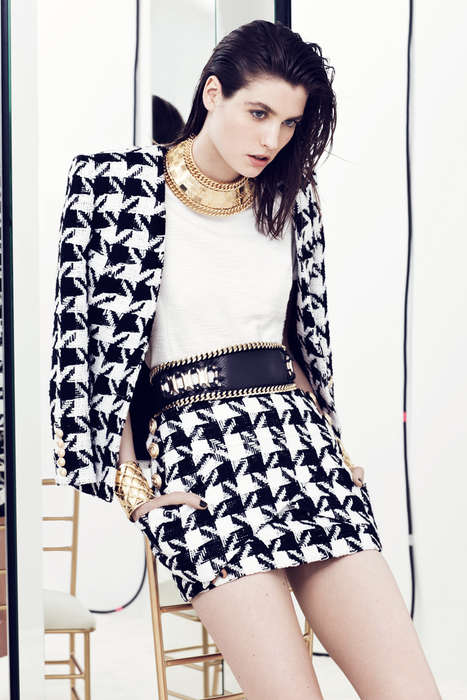 Houndstooth Overall Apparels - The Balmain Resort 2014 Collection Features Houndstooth Overalls