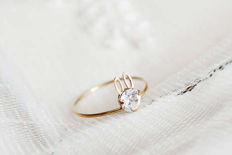 Glittering Rabbit Rings - These Diamond Rings are Shaped Like a Tiny Easter Bunny