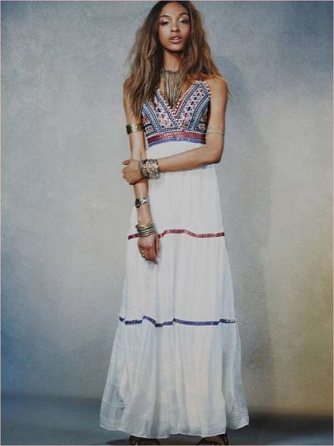 Hippie Princess Lookbooks - Jourdan Dunn Poses Carefreely in Free People's Spring Dresses