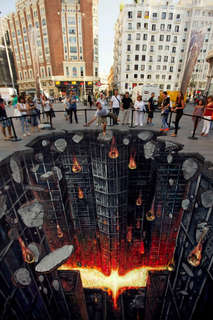 28 Illusory Graffiti Displays - From 3D Illusion Chalk Drawings to 3D Dark Knight Designs
