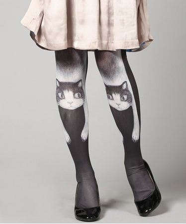 Lazy Lounging Feline Tights - These Cat Tights Feature a Sprawled Kitty Cat Design