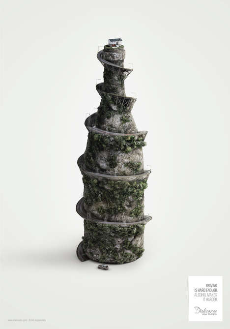 Wine Bottle Tower Ads - The Dislicores Liquor Trading Co. Campaign Shows Treacherous Consequences