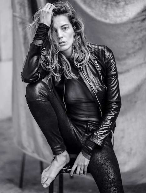 Edgy Monochromatic Editorials - The Marie Claire Russia 2014 Editorial Stars Model Daria Werbowy