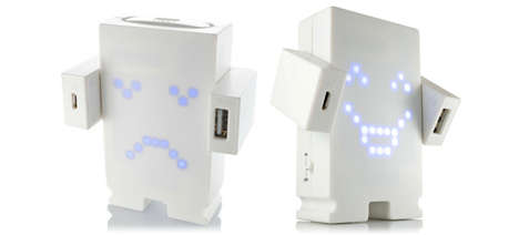 Expressive Robot Chargers - The Mr. Pow Portable Charger Feels Emotions