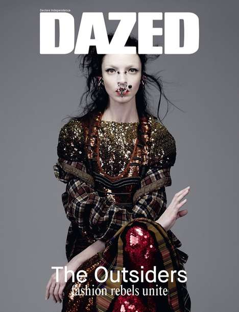 Outlandish Piercings Cover Shoots - The Dazed Spring 2014 Issue Stars Model Mariacarla Boscono