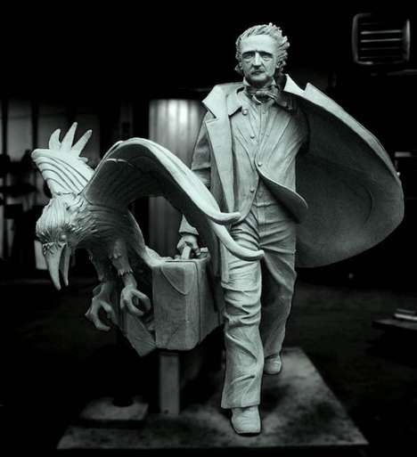 Life-Sized Literary Figure Statues - Edgar Allan Poe by Stefanie Rocknak is Full of Movement