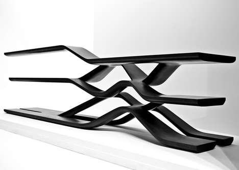 Structural Granite Storage - The Tela Shelving Design Storage Unit Debuts at Milan Design Week 2014