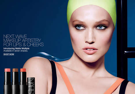 Swim-Inspired Makeup Ads - The Nars Matte Multiple Collection Campaign Stars Model Toni Garrn