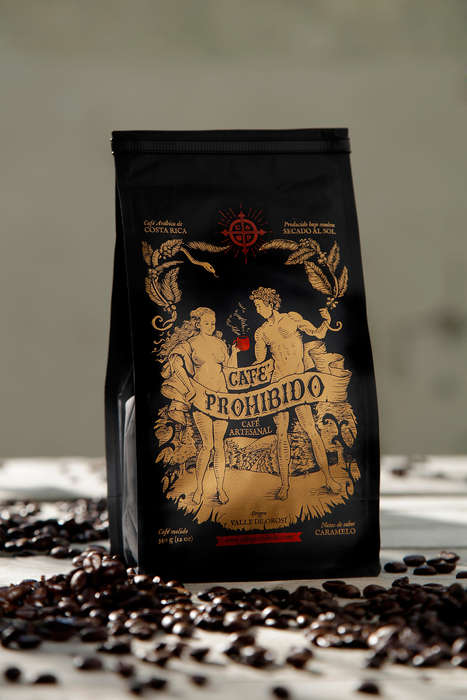 Sinfully Tempting Coffee Bags - The Cafe Prohibido Packaging References Adam and Eve