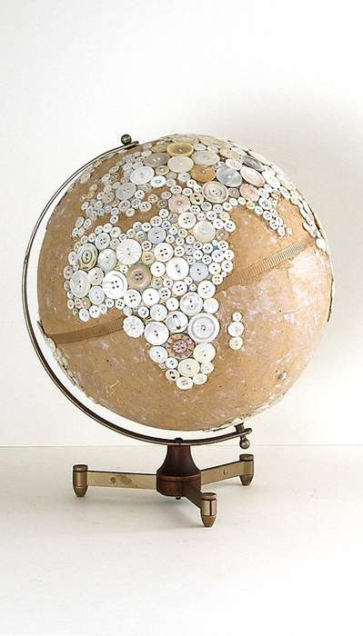 Seamstress-Inspired Planetary Office Decor - Button Globes by Robin Ayers Feminizes the Work Staple