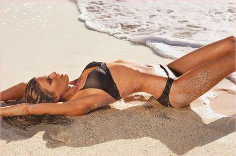 Sand Writhing Swimwear Ads - Calzedonia Beachwear Collection 2014 Lookbook Stars Cameron Russell