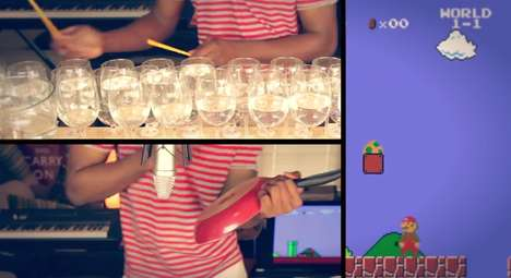 Impressive Wine Glass Songs - Dan Newbie Plays the Super Mario Bros. Theme Song on Glasses