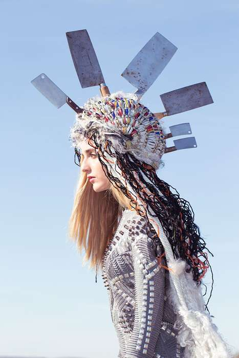 Eccentrically Dramatic Headdresses - The Ritual by Claudia Goetzelmann Stars Model DeeDee Brown