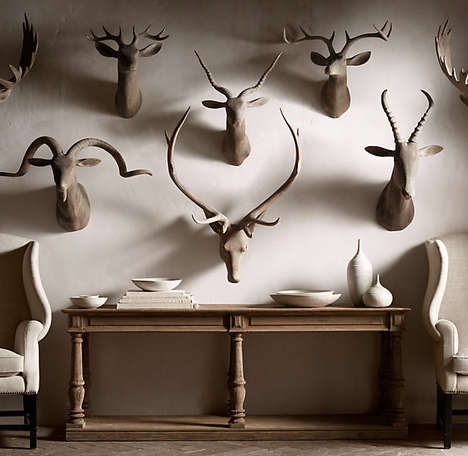 Wooden Animal Wall Mounts - 'Hand Carved Game Trophies' are Beautiful Wood Taxidermy Decor Items