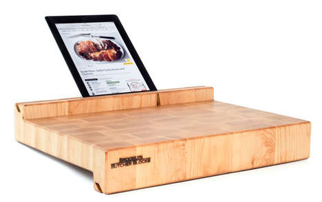 Dual Tablet Butcher Blocks - This Butcher Block Features A Slot on Either Side for Your Tablet