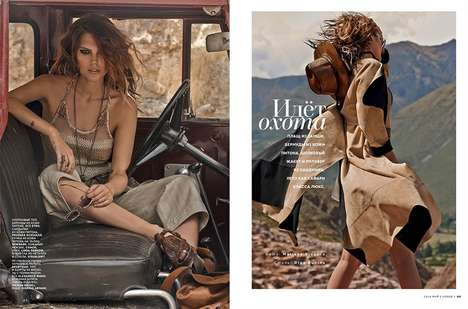 Edgy Safari Editorials - The Vogue Russia May 2014 Photoshoot Stars Catherine McNeil