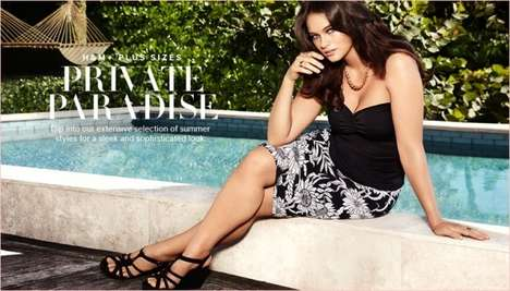 Curvaceous Poolside Fashion Catalogs - The H&M Summer 2014 Plus Sizes Campaign Stars Jennie Runk