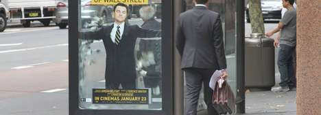 Money-Filled Movie Posters - This Bus Shelter Ad for the Wolf of Wall Street Uses a Real $10,000