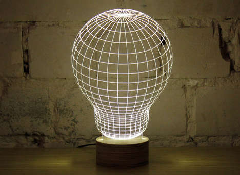 Illusionary Wireframe Light Fixtures - This Flat LED Lamp Gives the Illusion of a 3D Form