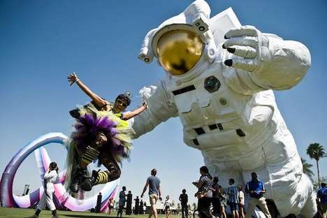 Festive Astronaut Installations - 'Poetic Kinetic' Designed an Enormous Astronaut for Coachella 2014