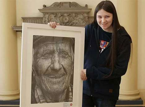 Hyper-Realistic Pencil Portraits - This Young Girl Created a Realistic Pencil Drawing of an Old Man