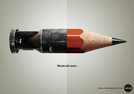 Juxtaposed Weaponry Ads - The Adot Words Kill War Campaign is a Powerful Call to Peaceful Arms