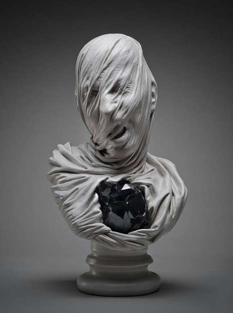Ghostly Shrouded Sculptures - Livio Scapella's Bust Sculptures Look Ghostly and Agonized