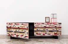 Wood Mosaic Cabinets - Davide G. Aquini's Wooden Buffet Table Sources Inspiration from Tribal Art