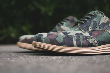 Dapper Camo Shoes - The Cole Haan Camo Collection Features Dress Shoes for Men