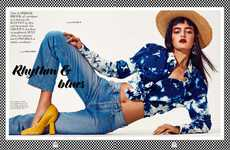 Distressed Tie-Dye Lookbooks - Wanessa Milhomem Poses in Blue Hues for Elle Netherlands