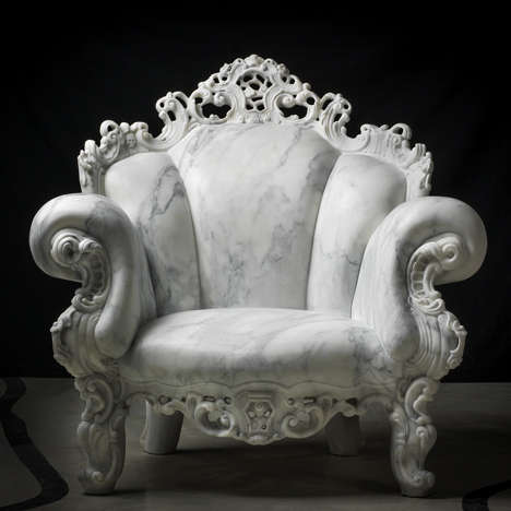 Iconic Carved Marble Chairs - This Version of the Proust Alessandro Mendini Chair is Made of Marble