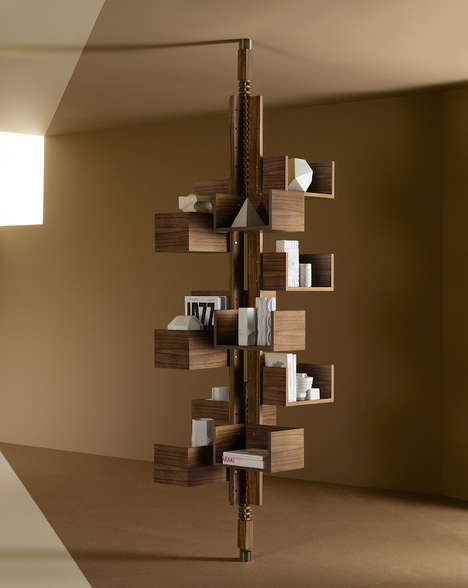 Treetop Book Shelves - The Albero Case By Poltrona Frau Stores Novels in an Arboreal Structure