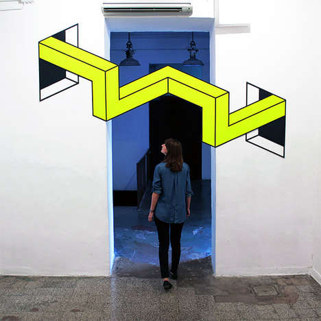 3D Tape Installations - The Aakash Nihalani Vantage Exhibit Creates Depth Illusions