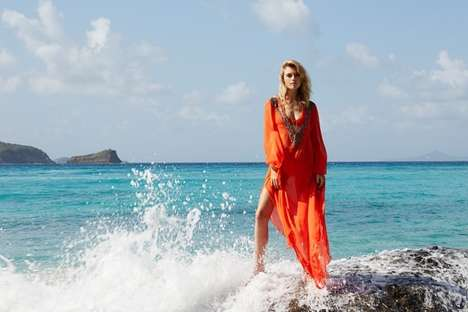 Sophisticated Beachwear Fashion Ads - The Amanda Wakeley Summer 2014 Campaign Stars Farah Holt