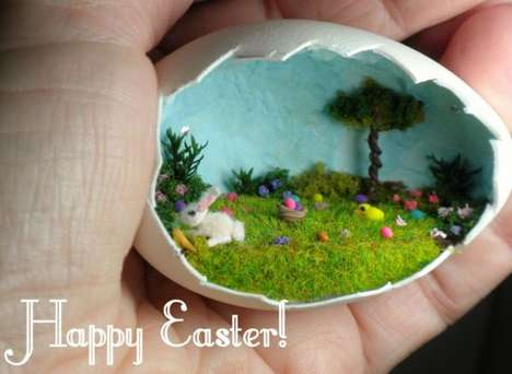Easter Egg Dioramas - Easter Wishes by Jane Smith Depicts a Playfully Scenic Hunt