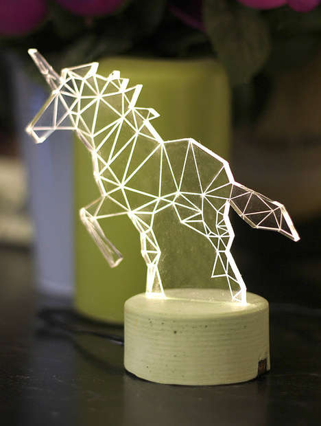 Mystical Geometric Lamps - These Unicorn Desk Lamps are Made from Triangular Glass Shapes