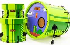 Videogame Drum Sets - This Super Mario Drum Set Uses the Green Pipes as the Body
