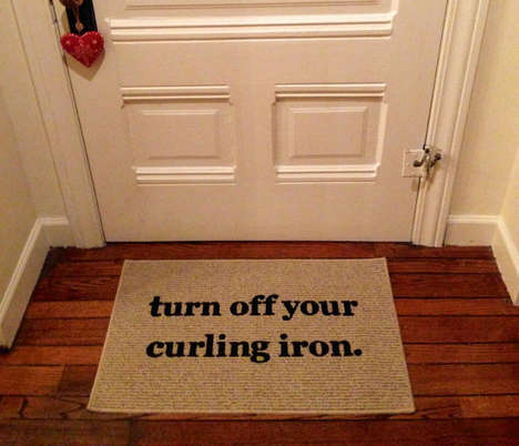 Humorous Safety Door Mats - This Door Mat Reminds You to Turn Off Your Beauty Tools