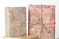 Topographic Present Paper - This Wrapping Paper is Creatively Designed to Look Like a Historic Map