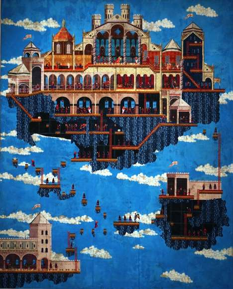 Galactic Gamer-Inspired Frescos - Dan Hernandez Imagines Historic Paintings as Space Invader Art