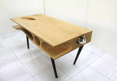 Lounging Feline Tables - The CATable is a Functional Table and a Place for Cats to Explore
