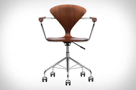 Slim-Waisted Office Seats - The Cherner Task Chair Tweaks Original Design with Added Wheels