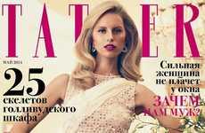 Glamorous Housewife Editorials - 'Unexpected Housewife' from Tatler Russia Features Karoline Kurkova