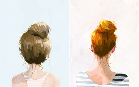 Serene Hairstyle Portraitures - The Top Knot is Captured in Serene Paintings by Elizabeth Mayville