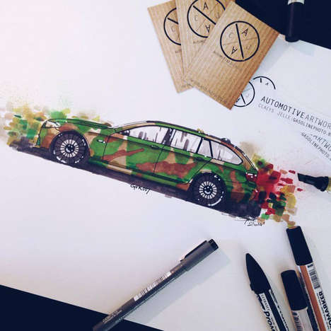 Vibrant Automotive Art - Artist Claeys Jaelle Uses Marker Pens to Create Colorful Drawings of Cars